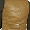 Womens Tan Luxury Leather Waistcoat