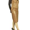 Womens Tan Leather Skirt Waistcoat Outfit