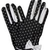 Dents Black Vintage Polka Dot Dress Gloves with white bow