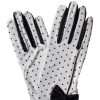 Dents White Vintage Polka Dot Gloves with black bow