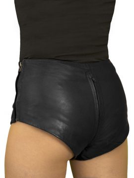 Black Leather Hot Pants, 2-way crotch zip, mid-rise