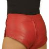 Red Leather Hot Pants, 2-way crotch zip, mid-rise
