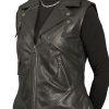 Womens Leather Gilet Waistcoat, biker-style, Black