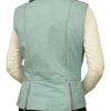 Womens Leather Gilet Waistcoat, biker-style, Sky Blue