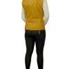 Womens Leather Gilet Waistcoat, biker-style, mustard yellow
