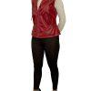 Womens Leather Gilet Waistcoat, biker-style, Wine Red