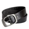 Mens Black Leather Belt Buckle style 2