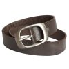 Mens Brown Leather Belt Buckle style 2