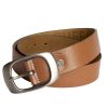 Mens Tan Leather Belt Buckle style 2