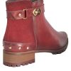 Women's Red Flat Heel Leather Ankle Boots