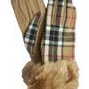 Dents Womens Wool Tartan Gloves, faux fur cuff, Camel Stewart