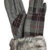 Dents Womens Wool Tartan Gloves, faux fur cuff, Grey Buchanan