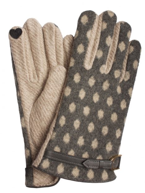 Dents Womens Wool Mix Spot Touchscreen Gloves, Oatmeal