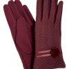 Camalya Women's Chic Fine Knit Winter Gloves, Bordeaux