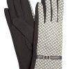 Camalya Women's Fine Knit Check Winter Gloves, Black/White