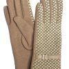 Camalya Women's Fine Knit Check Winter Gloves, Beige