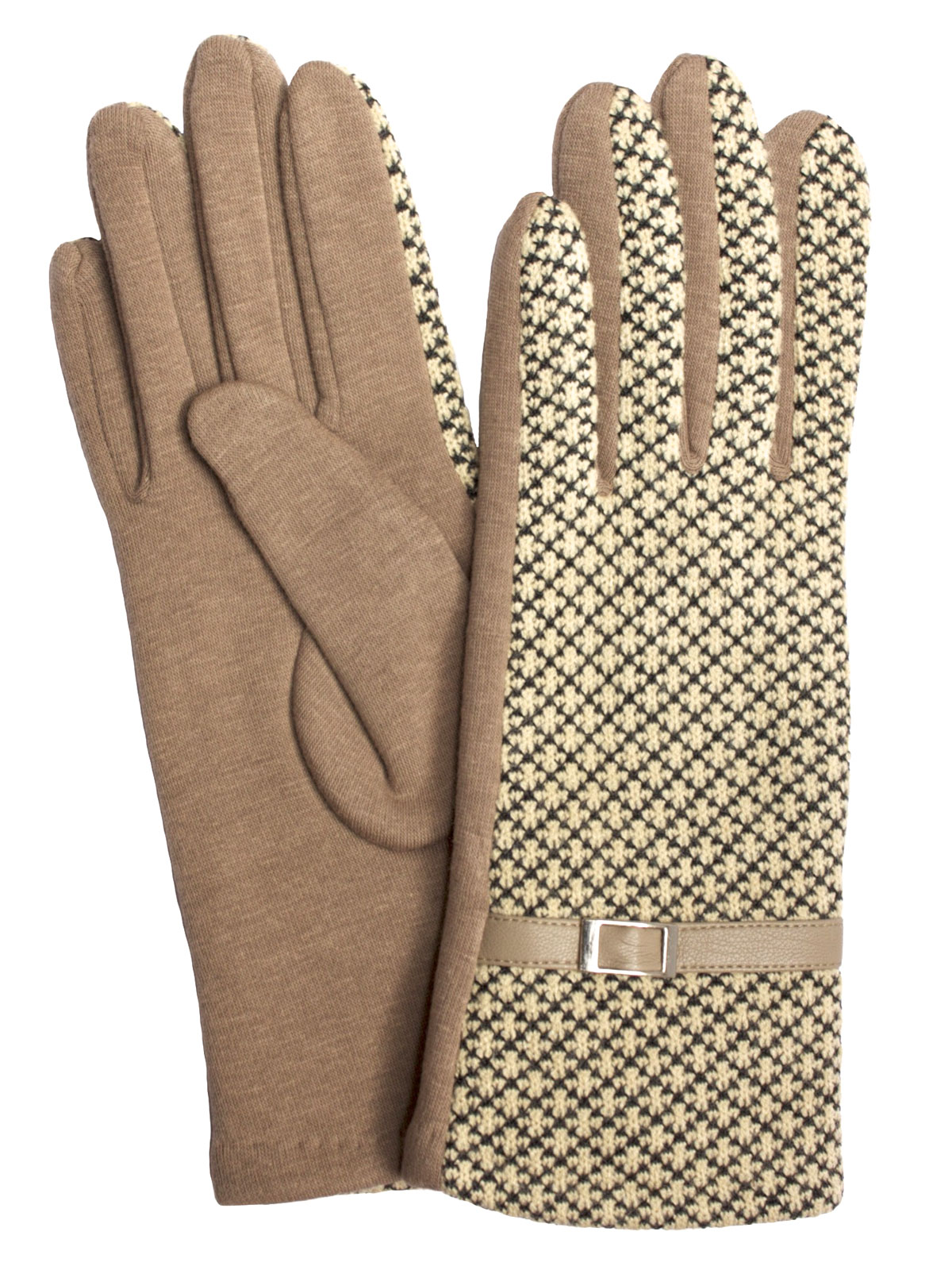 Camalya Women's Fine Knit Check Winter Gloves, Beige