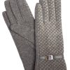 Camalya Women's Fine Knit Check Winter Gloves, Grey