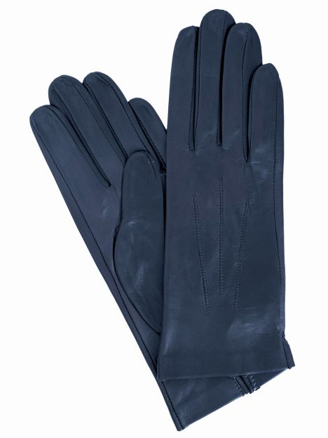 Dents Womens Leather Gloves, classic plain, Navy