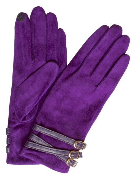 Dents Women's Suede Touchscreen Gloves, 3 buckle strap, amethyst