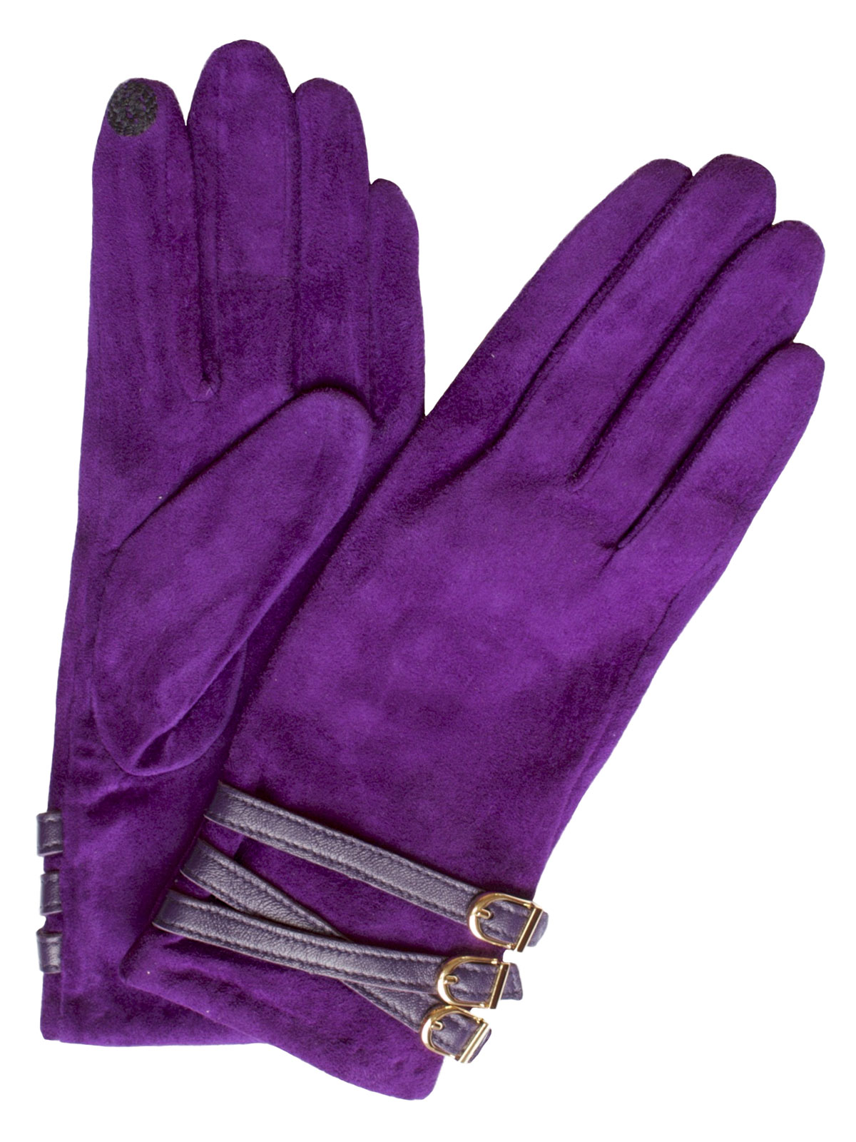 Dents Women's Suede Touchscreen Gloves, 3 buckle strap, amethyst