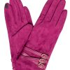 Dents Women's Suede Touchscreen Gloves, 3 buckle strap, hot pink