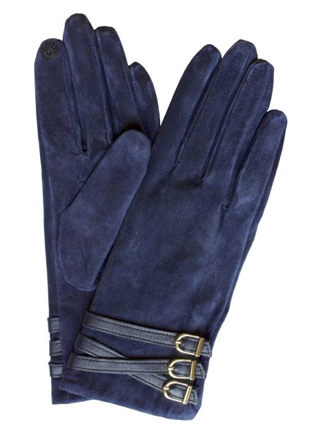Dents Women's Suede Touchscreen Gloves, 3 buckle strap, navy