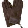 Dents Women's Suede Touchscreen Gloves, leather cuff, mocca