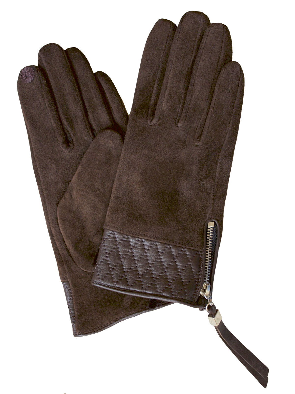 Dents Women's Suede Touchscreen Gloves, leather cuff