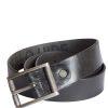 Stones Men's Leather Belt (B3), Black