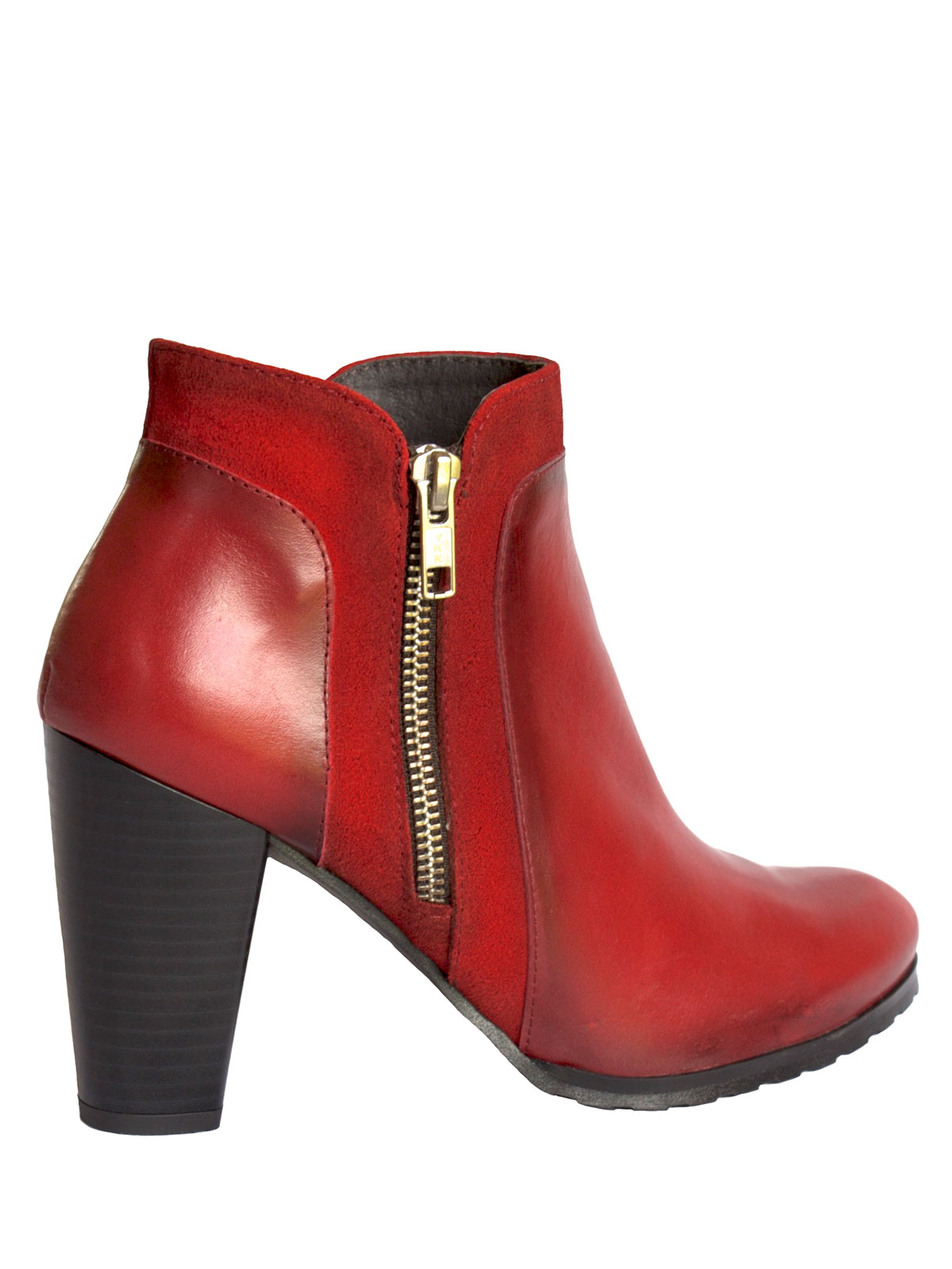 Red Leather Chunky High Heel Ankle Boots