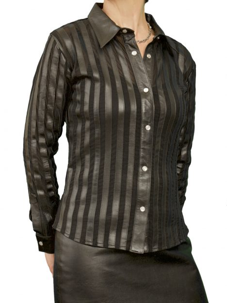 Womens Luxury Lycra and Leather Shirt, black