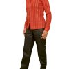 Womens Luxury Lycra and Leather Shirt, red