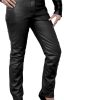 Womens Luxury Leather Trousers Jeans, black