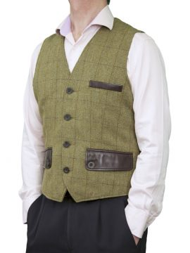 Mens Tweed and Luxury Soft Leather Waistcoat