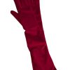 Dents Long Velvet Gloves, Berry Red