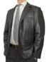 Mens Luxury Leather Blazer Jacket, 2 button, black