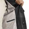 Mens Luxury Leather Blazer Jacket, 2 button, black