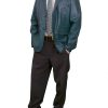 Mens Luxury Leather Blazer Jacket, 2 button, blue