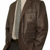 Mens Luxury Leather Blazer Jacket, 2 button, brown