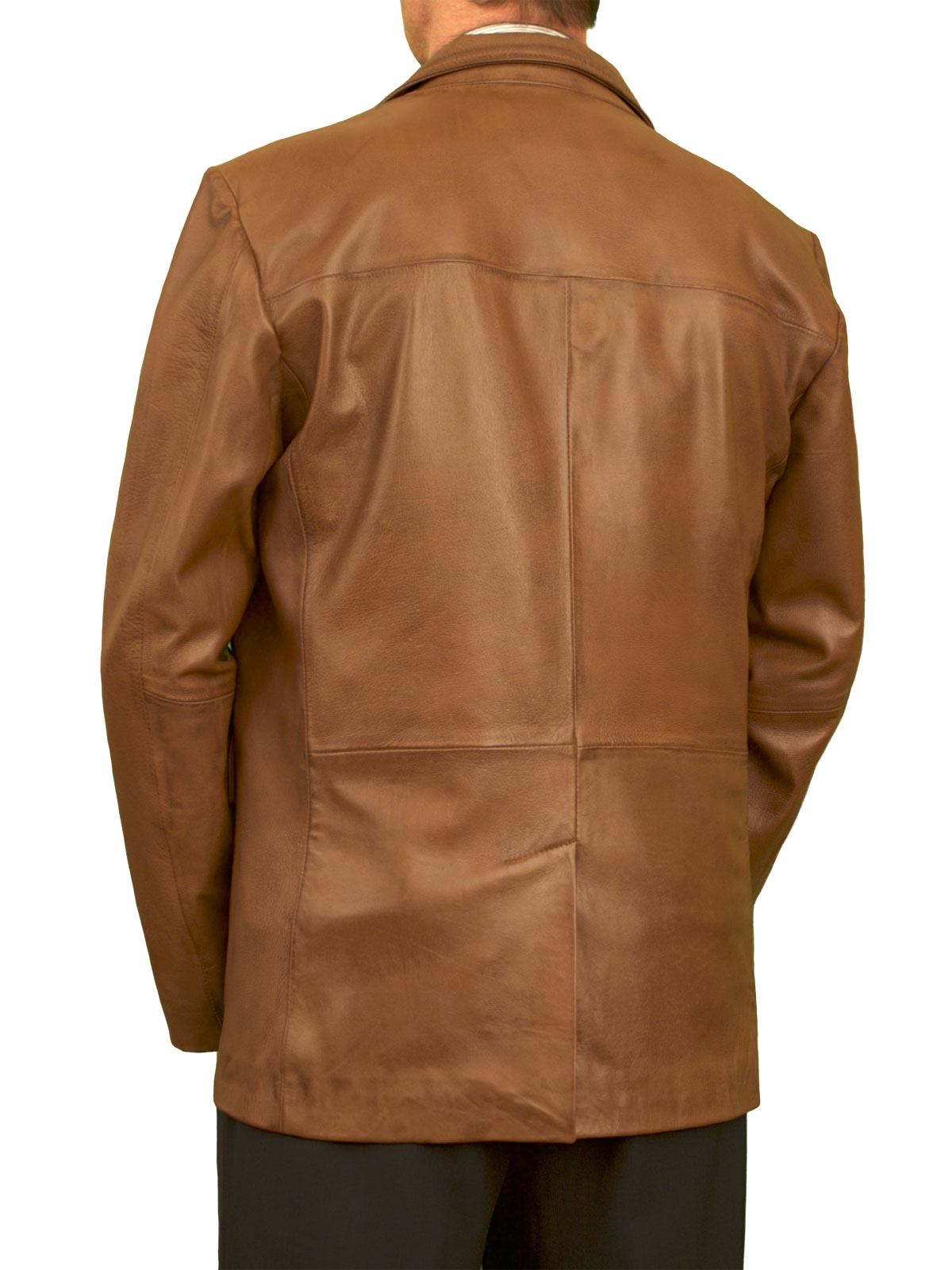 Mens Luxury Leather Blazer Jacket 2 Button 5 Colours