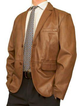 Mens Luxury Leather Blazer Jacket, 2 button, tan