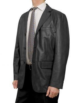 Mens Luxury Leather Blazer Jacket, 3 button, black