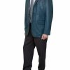 Mens Luxury Leather Blazer Jacket, 3 button, light navy
