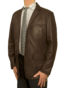 Mens Luxury Leather Blazer Jacket, 3 button, brown