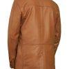 Mens Luxury Leather Blazer Jacket, 3 button, tan
