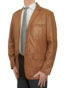 Mens Luxury Leather Blazer Jacket, 3 button, tan