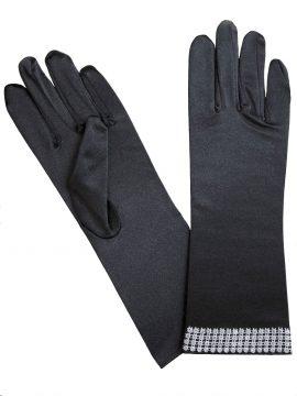 Black satin dress gloves with diamante cuff, Pia Rossini