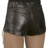 Womens Luxury Leather Hot Pants Shorts, jeans style, black