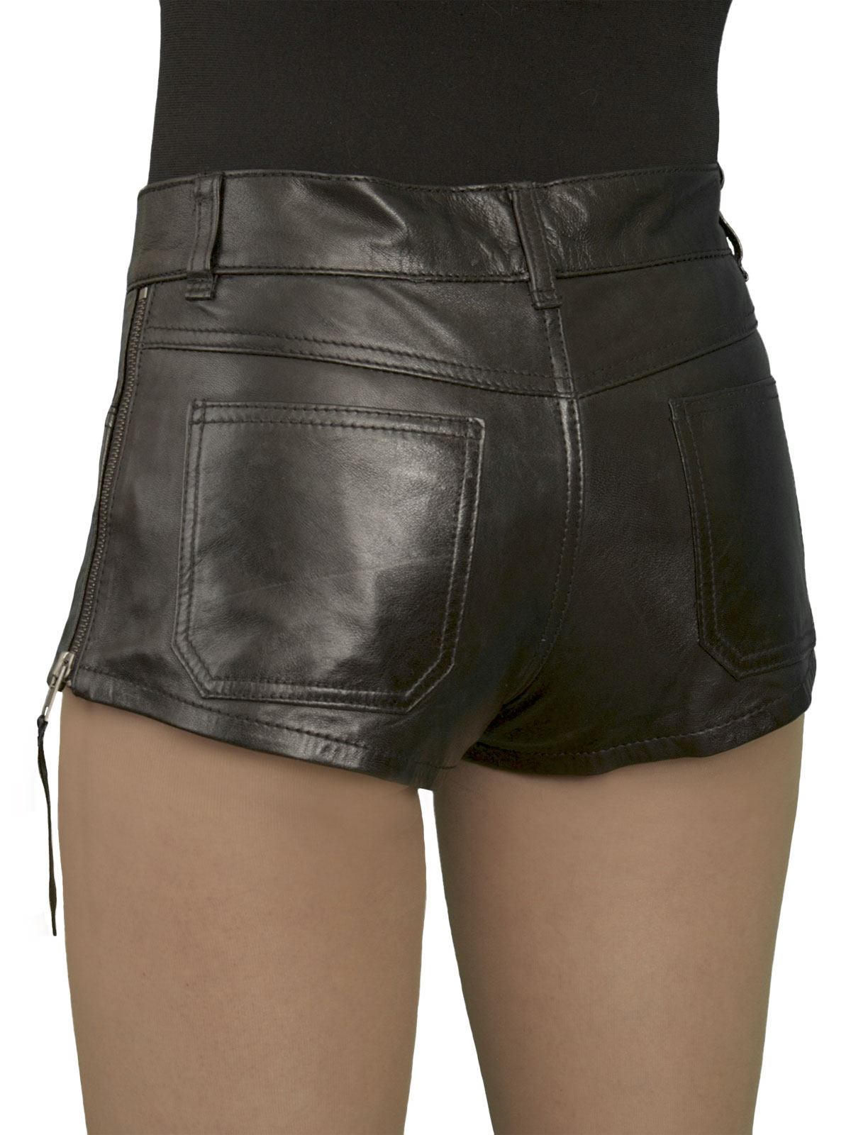 Womens Luxury Leather Hot Pants Shorts Jeans Style Tout